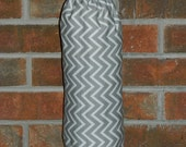 Handmade chevron fabric large holder for plastic grocery bags, custom, gray and white or CHOOSE COLORS