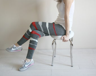 Charcoal Knitted Stretch Colorful Striped Tight  Pants Leggings Legwarmer