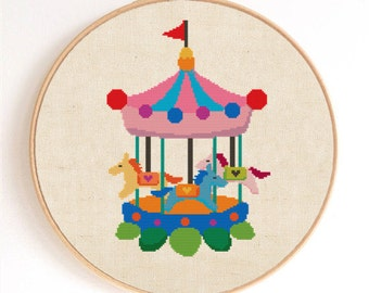 Cute Carousel Counted Cross Stitch Pattern Instant Download