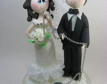 Custom wedding cake topper, Funny wedding cake topper, chained groom