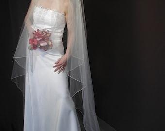 "Angel Cut wedding veil. Water fall/Angel veil 75"" long."