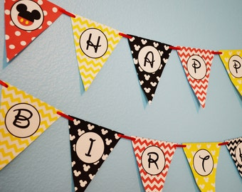 Mickey Mouse Party Happy Birthday Banner / Mickey Mouse Birthday Party / Print Your Own / DIY FILE to PRINT