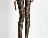 Peacock feathers tights-Printed Legging-Sexy Legs -P23K3018N