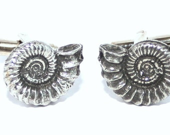 Ammonite Cufflinks in Fine English Pewter, Handmade, Gift Boxed, fossil (wa)