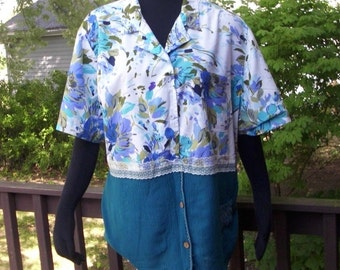 Womens Plus Size Shirt, Size 3X, Upcycled Blouse, Floral Tunic, Tunic Top, Eco Friendly Clothing,Womens Shirt, OOAK Top, Recycled Shirt
