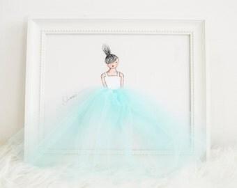 Little princess in tutu - hand painted canvas, blue nursery, nursery artwork, baby shower, nursery decor, baby room, girls room
