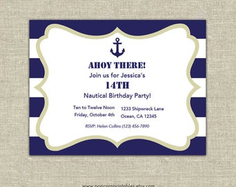 Nautical Invitations Printable- Editable Text PDF- Instant Download- Personalize at home w/ Adobe Reader- Cream White & Blue- Stripes- Love