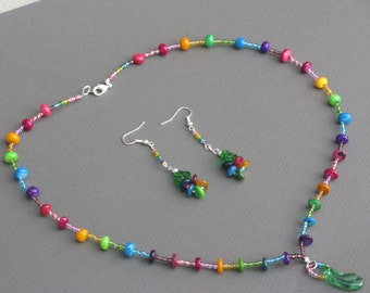 End of the Rainbow Necklace and Earring Set