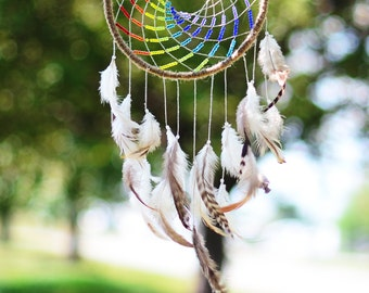 Large Rainbow Hippie Dreamcatcher