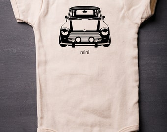 Mini Cooper - Baby Bodysuit - Organic Cotton - Screen Printed - Baby Clothes - MicroThreads Apparel