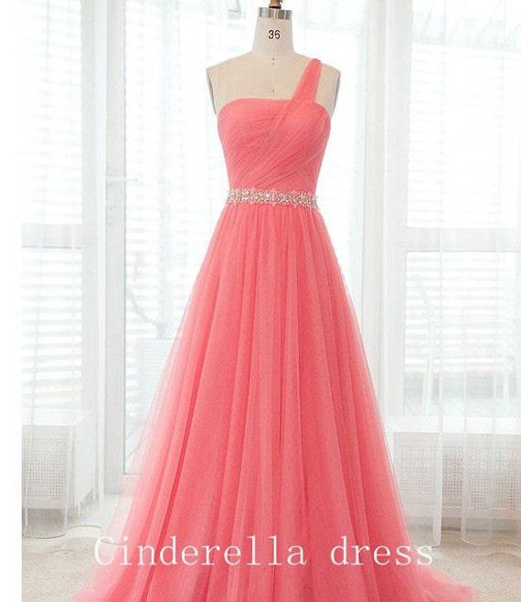 Bright Color Oneshoulder Prom Dress Chiffon By CinderellaDress