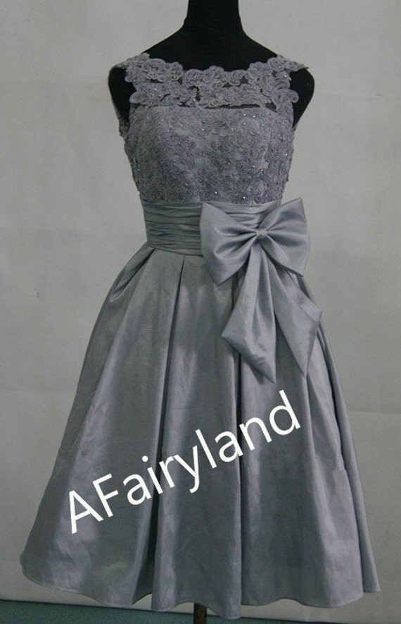 Custom order for Dana --- Pink lace top grey skirt bridesmaid dress, sleeveless, sweetheart neckline and waist bow, lace taffeta