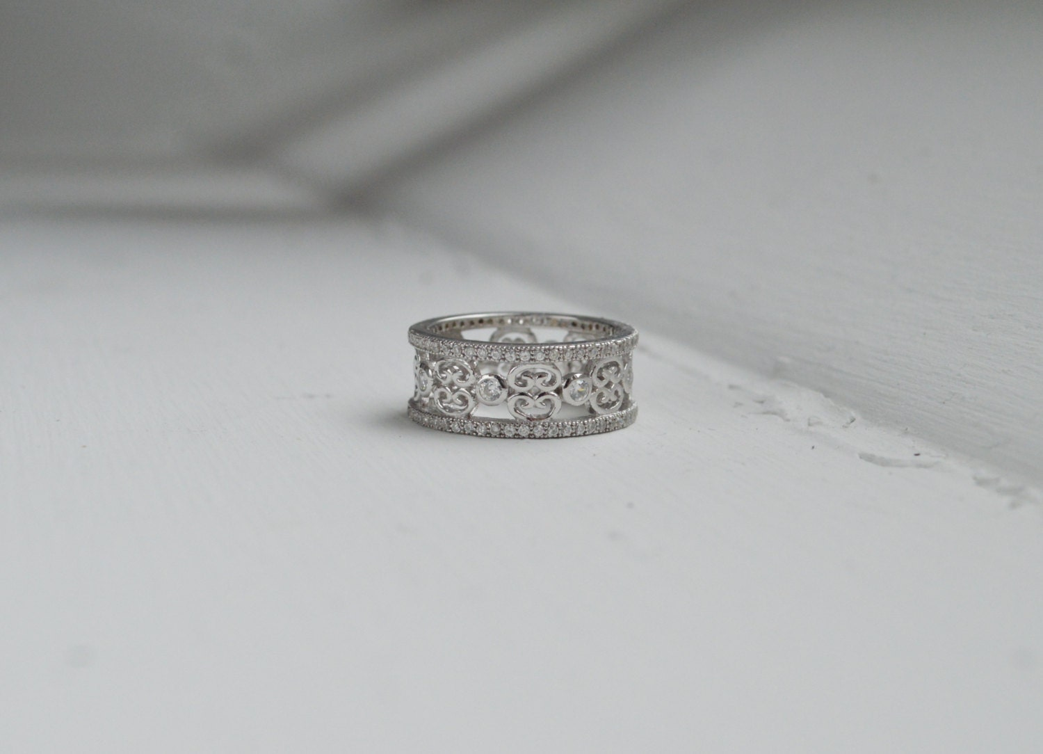 art deco wedding band wide band eternity ring micro pave. Black Bedroom Furniture Sets. Home Design Ideas