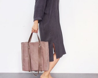 Taupe leather tote bag- Grace bag