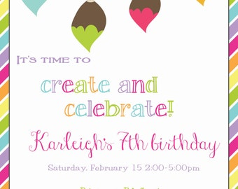 Stripe Border Painting Party Invitation with Paint Brushes