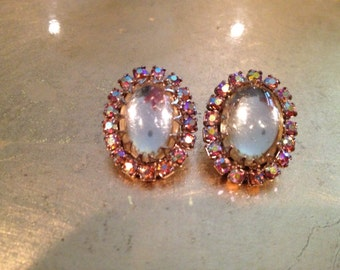 Vintage Cabochon and Pink Crystal Earrings