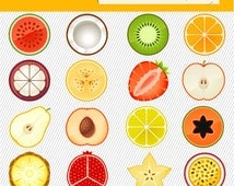 Fruit Clipart. Fruit Illustration. Fruit digital images. Slice of Fruit clipart  195