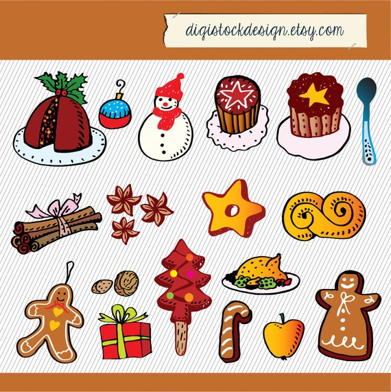 Items similar to Christmas Clipart. Cookies Clipart. Food ...
