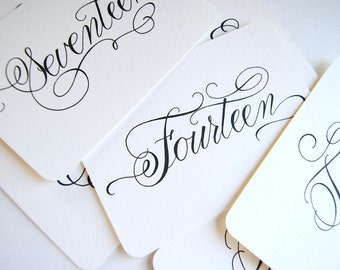 Handwritten Wedding Calligraphy Table Number Prints
