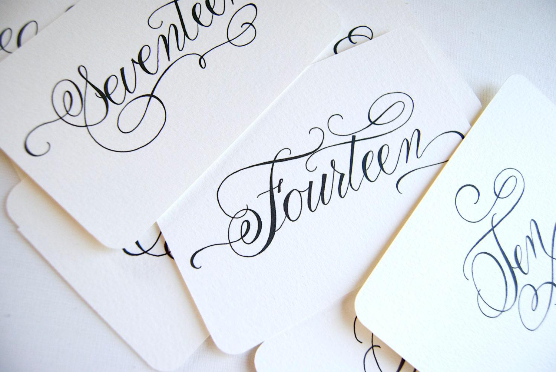 Handwritten wedding calligraphy table number prints