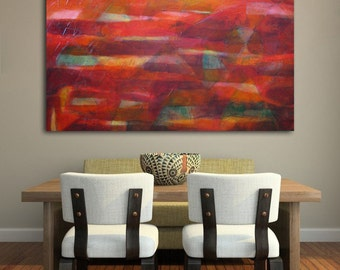 "Original large red abstract painting, abstract landscape art, ""Tierra Rojo""- 33""x44"""