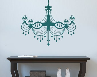 Chandelier Wall Decal Removable Wall Art Vinyl Dinning Room Sticker 60 Color Choices 6 sizes