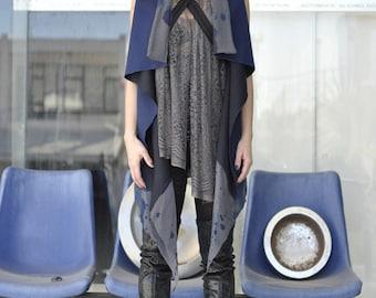 Sleeveless leather panel wrap cardigan, draped asymmetric oversized vest, blue wool cardigan