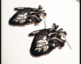 Human Heart Anatomy Earrings - Black and White Anatomical Heart Illustration Earrings