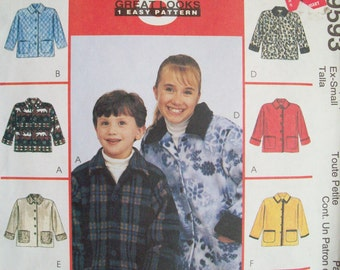 McCall's 9593. Boys and girls fleece / unlined jacket pattern. Pattern is uncut and factory folded.