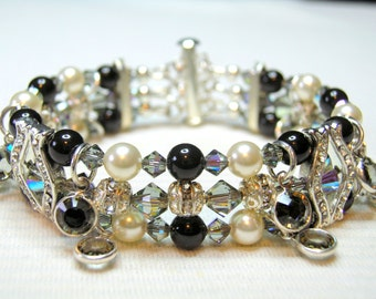 Jet Black and Cream Crystal & Pearl 3 Strand Bracelet