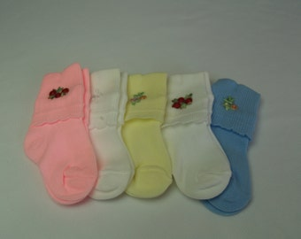 Embroidered Flowers Fancy Infant Socks 3 for 7.95USD assorted colors fine quality, Baby Girls Infant Socks, Yellow Socks, Blue Socks, Gift