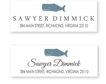 Whale Return Address Labels, package of 48