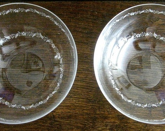 Pair of Antique Hand-Etched Glass Bowls