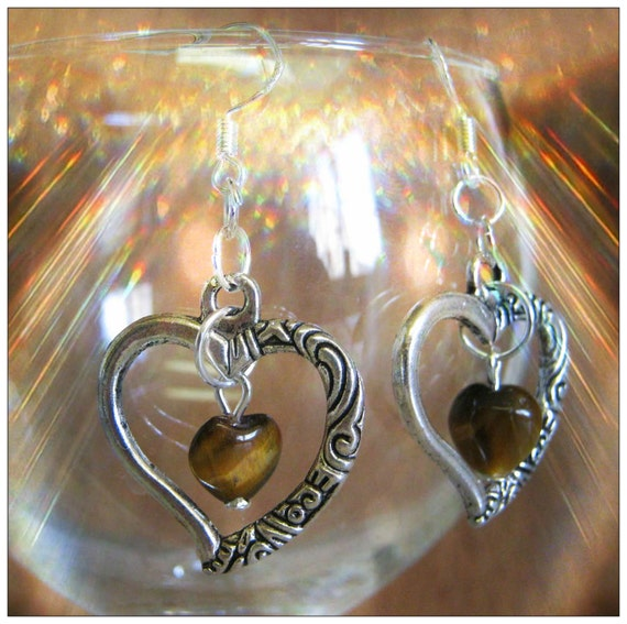 Handmade Silver Earrings with Tigers Eye Hearts in Hearts by IreneDesign2011