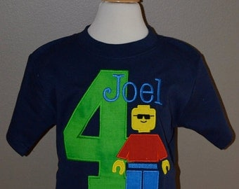 Personalized Birthday Block Boy Applique Shirt or Onesie Girl or Boy