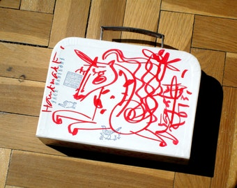 ATTACHE Red and White Rigid Briefcase Hand Painted by Jack Babiloni / OOAK !!!