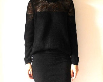 Black mesh knitted sweater