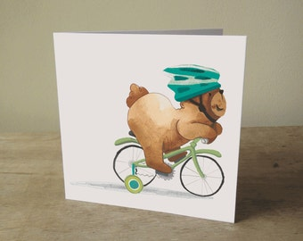 Illustrated Card: Bear on a Bike