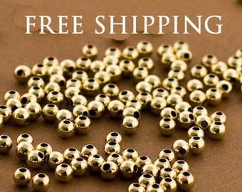3mm Gold filled Round Beads, Gold filled beads, Seamless Gold Beads, 14k 14/20 round Beads, 100 PCS, Round gold Beads 3MM