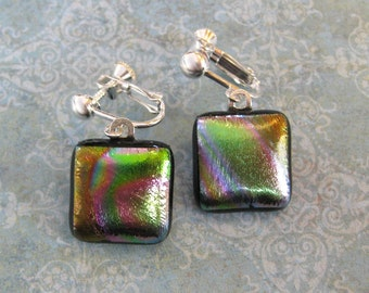 Multicolored Clip on Earrings, Dichroic Clip Earrings, Fused Glass Jewelry, Multicolored Jewelry - Reynolds - 1938 -1