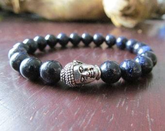 Bracelet with Buddha Bead and Blue Goldstone Beads, Energy Bracelet, Wrist Mala, Yoga Bracelet, Yoga Jewelry, Meditation Bracelet
