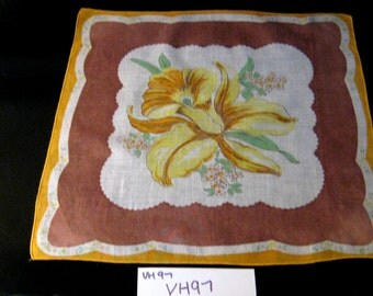 Vintage Daffodil Hanky, Floral Print Handkerchief, Retro Hankies, Spring Accessories, Yellow, Brown and White Hanky