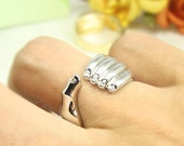 Women's Hand Ring Gold Silver Plated Crystal Ring Jewelry Wrap Ring Size Adjustable