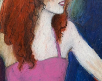 Girl With Red Hair - Giclée print of original oil pastel painting on paper, pink dress, smiling woman