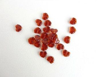 30 x 11x13mm Czech Glass Beads, Amber Leaf Glass Beads, Brown Leaf Beads, Amber Leaf Beads, Glass Leaf Beads LEA0004