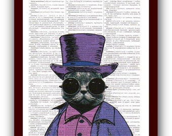 Cat Glasses  Art Print: Steampunk Gentleman Cat Print Cat Poster Art Print Book Page Art  Nerdy Poster