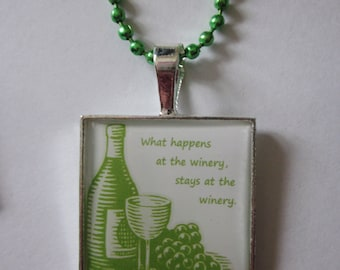 CLEARANCE What Happens At The Winery, Stays At The Winery Green Cameo Necklace
