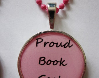 CLEARANCE Proud Book Geek Pink Cameo Necklace