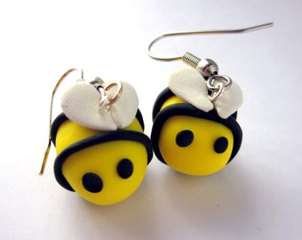 Bumblebee Earrings, Bee Earrings, Bee Jewellery, Polymer Clay Yellow Earrings, Polymer Clay Jewellery, Bee Jewelry,  Fun Cute Bee Earrings