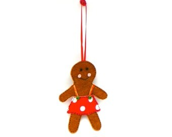 Traditional Red and Green Whimsical Felt Gingerbread Girl Christmas Tree Ornament